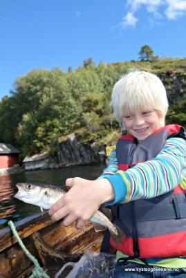 Denne vetle fisken skulle vise seg å vinne premien for minste fisk! Gjett om guten var stolt...