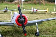 Flotte modellfly på rekke og rad