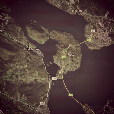Fartutsnitt, flyfoto Litlebergen, Håøy, Flatøy og Knarvik