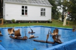 Barkebåtar i seilas på stille hav